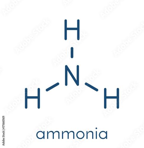 Photo Ammonia (NH3) molecule. Skeletal formula.