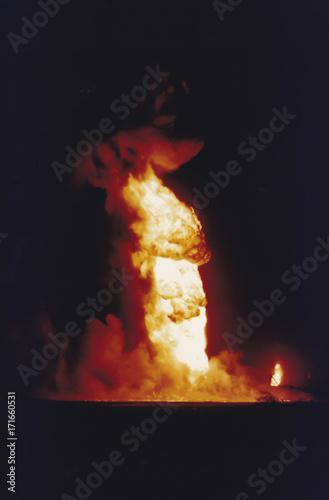Vászonkép Oil well fires burning in field, Kuwait