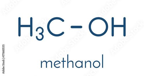 Methanol (methyl alcohol, MeOH) molecule  Highly toxic