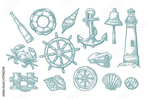 Fotografía  Anchor, wheel, bollard, hat, compass rose, shell, crab, lighthouse engraving