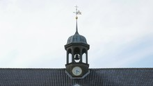 Close Up Shot Of Bell Tower Of Old Danish Church In Centre Of Copenhagen