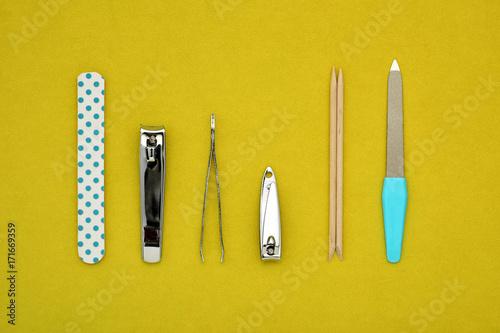 Staande foto Pedicure manicure set