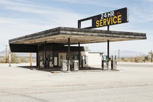 Abandoned Gas Station In Mojave Desert, Near Surprise Valley, CA