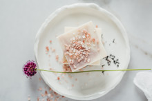 Natural Soap With Flower And Himalayan Salt