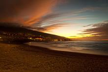 Sunset In Playa Jardin, Puerto De La Cruz, Tenerife
