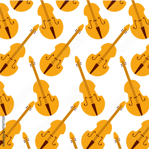 Obraz na plátne fiddle classic instrument seamless pattern image vector illustration