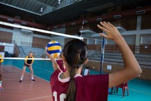 Female Players Playing Volleyb...