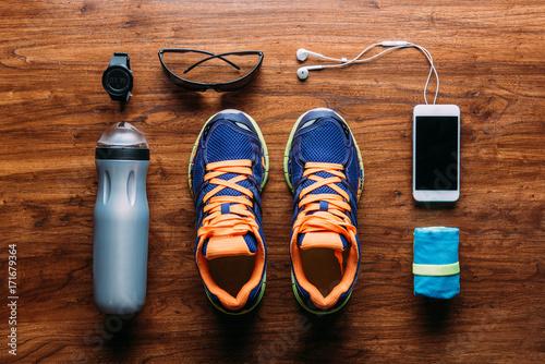 Running equipment and accessories arranged on floor