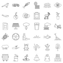 Garbage Icons Set, Outline Style
