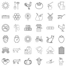 Windmill Icons Set, Outline Style