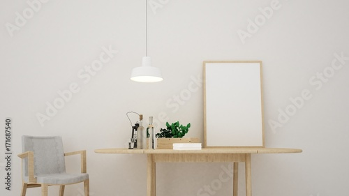 Fototapeta 3d rendering interior relax space furniture and background white decoration obraz na płótnie