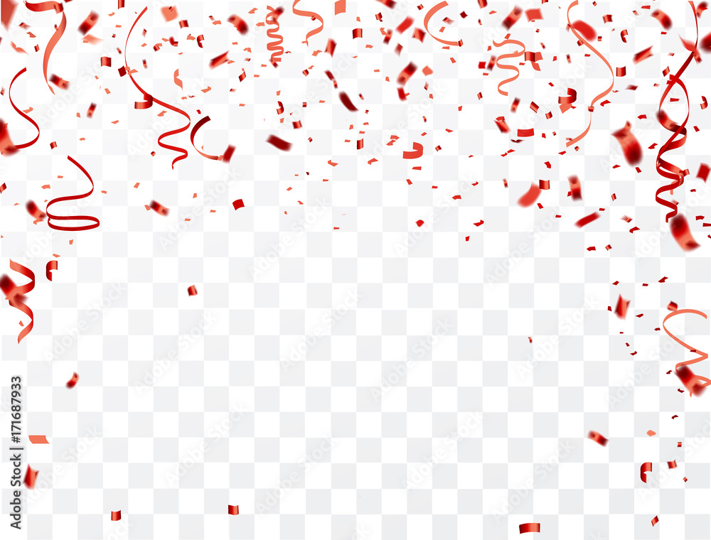 Fototapety, obrazy: Celebration background frame template with confetti and red ribbons. Vector illustration