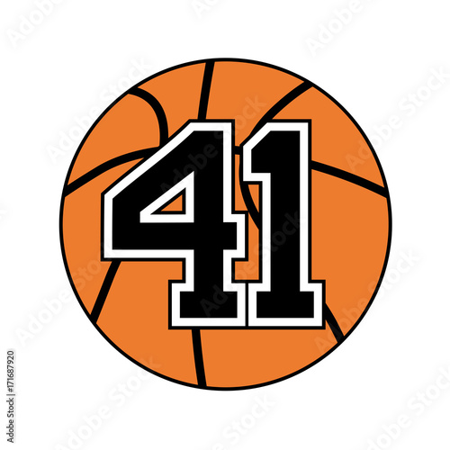 Tela ball of basketball symbol with number 41