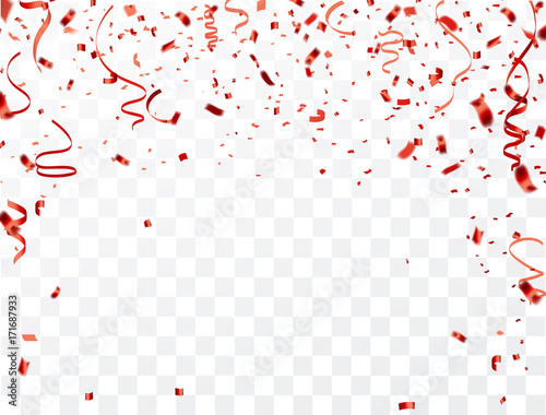 Obraz Celebration background frame template with confetti and red ribbons. Vector illustration - fototapety do salonu