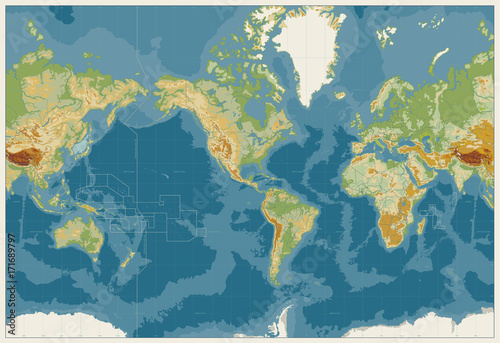 World Map Americas Centered Physical Map. Vintage Colors. No text Canvas Print