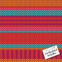 Colorful Knitted Stripes Seamless Pattern Background. Vector Illustration.