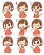 様々な表情をした女性のセット