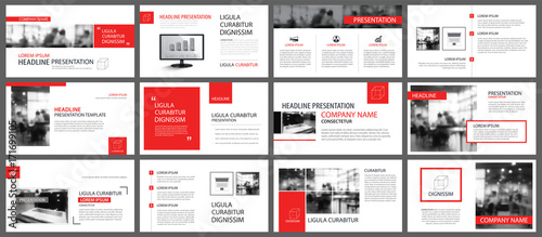 Fototapeta Red and white element for slide infographic on background. Presentation template. Use for business annual report, flyer, corporate marketing, leaflet, advertising, brochure, modern style. obraz