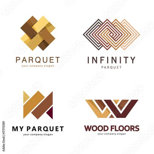 Vector abstract logo template. Logo design for parquet ...