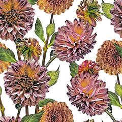 Panel Szklany Podświetlane Kwiaty Dahlias seamless pattern. Artistic background. Hand drawn Illustration.