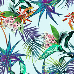 Fototapeta Kwiaty Tropical seamless pattern. Watercolor background.
