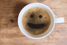 Coffee With Smiley Face In The Morning.