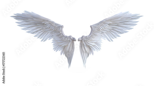 Foto  3d Illustration Angel wings, white wing plumage isolated on white background