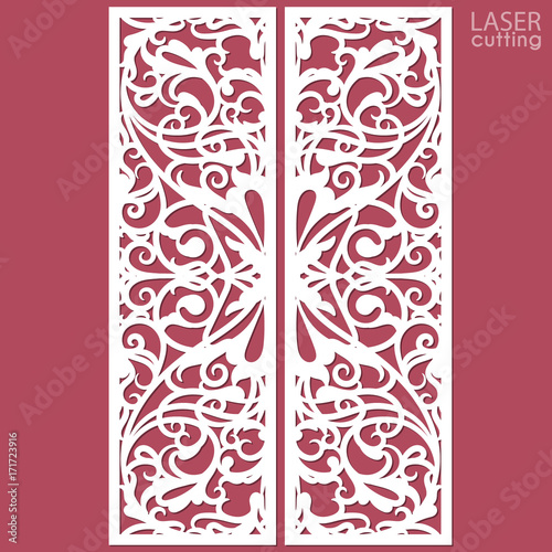 Laser cut ornamental panels with pattern template of wedding laser cut ornamental panels with pattern template of wedding invitation or greeting card cabinet stopboris Choice Image