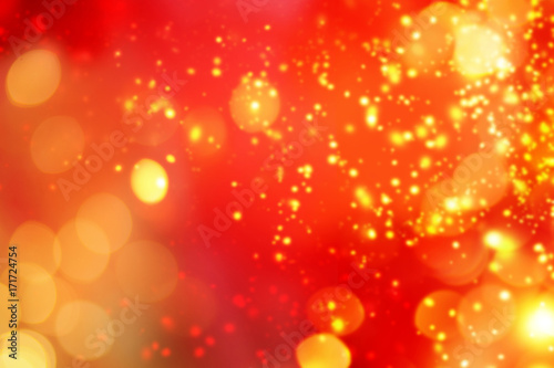 Photo Stands Akt Christmas abstract red lights background. Festive xmas abstract background with bokeh defocused lights and stars. Card or invitation for your design.