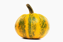 Ripe Single Orange And Green Pumpkin With Clipping Path Isolated At White Background.