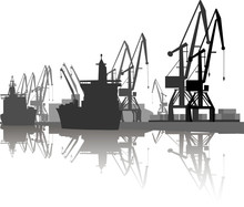 Silhouette Of Ship And Crane I...