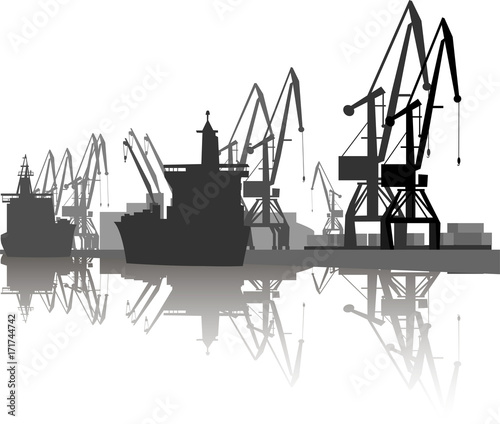 Fototapeta Silhouette of ship and crane in port.