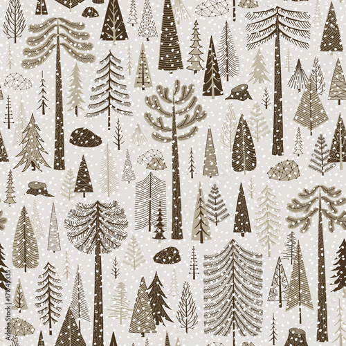 Cotton fabric Seamless winter pattern of coniferous forest
