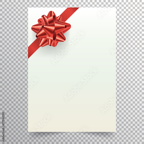 Blank Paper Sheet With Red Ribbon And Conical Bow White