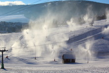 Snowmaking With Snow Cannons And Snow Lances At Ski Resort Fichtelberg In Oberwiesenthal, Germany