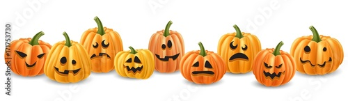 Spoed Fotobehang Halloween Halloween pumpkin head row with different expressions. Realistic vector illustration, with isolated pumpkins.