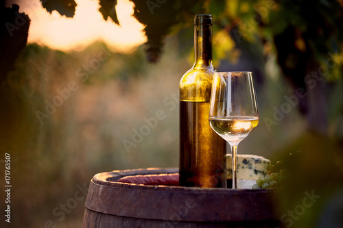 Plakát  Glass of white wine and bottle with food at sunset