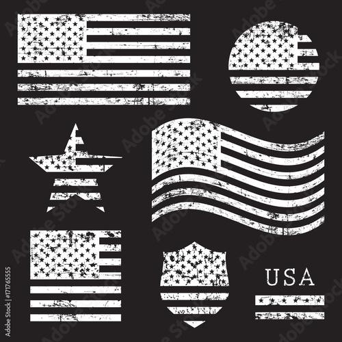 Fototapeta Vintage USA American grunge flag set, white isolated on black background, vector illustration. obraz