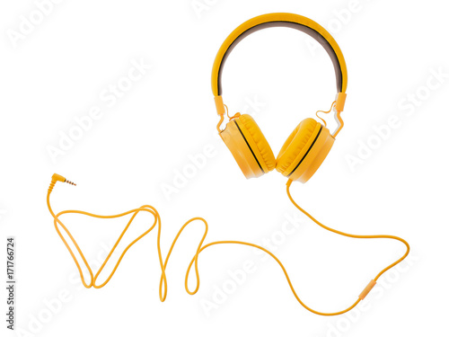 Fotografia  yellow headphones or earphone computer isolated on a white background