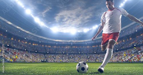 Fotografie, Tablou  Soccer player kicks the ball on the soccer stadium