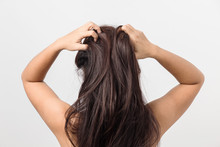 Asian Young Women Itching Scalp ,itchy His Hair