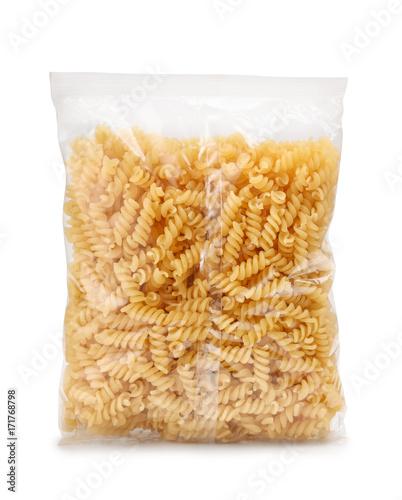 Plastic bag of fusilli pasta