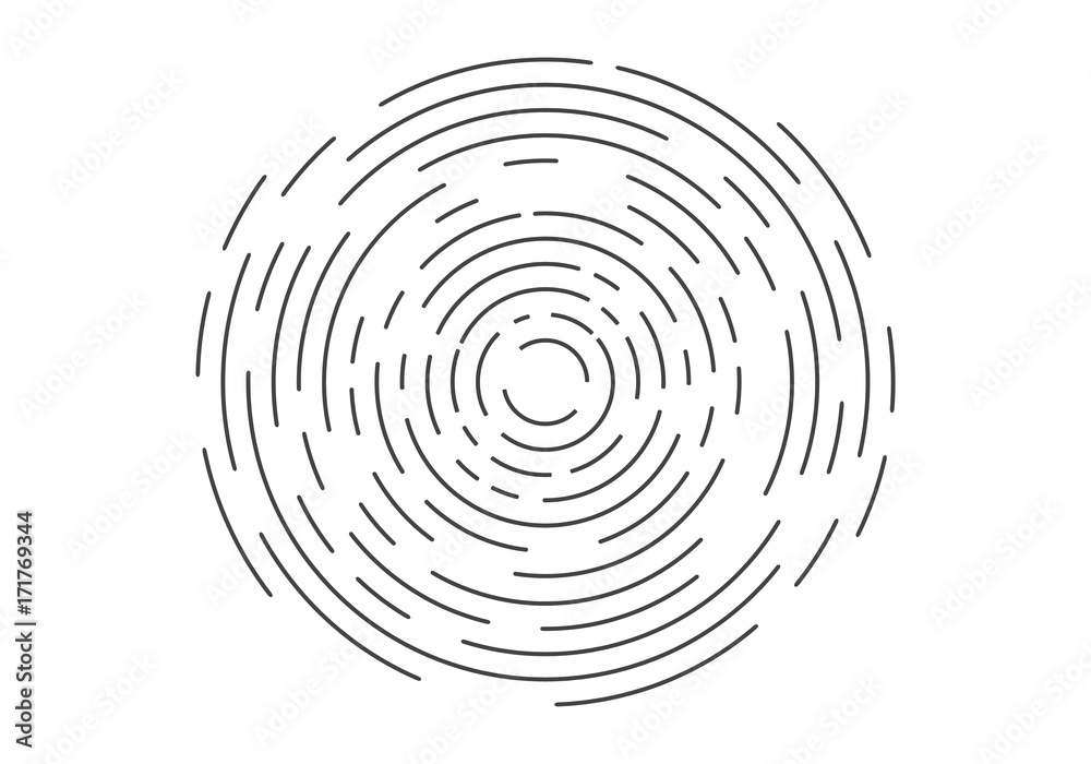 Fototapety, obrazy: Abstract geometric vortex, Circular swirl lines, fingerprint. Vector illustration