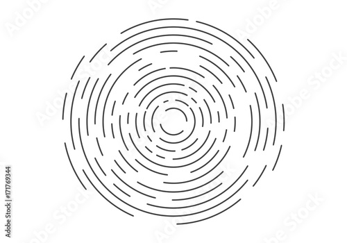 Photo  Abstract geometric vortex, Circular swirl lines, fingerprint