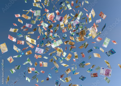 Fotografie, Obraz  Geldregen Geldsegen Euro Geldscheine Geld fällt vom Himmel