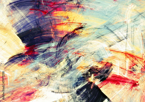 Obraz Bright artistic splashes. Abstract painting color texture. Modern futuristic motion multicolor pattern. Multicolor dynamic background. Fractal artwork for creative graphic design - fototapety do salonu