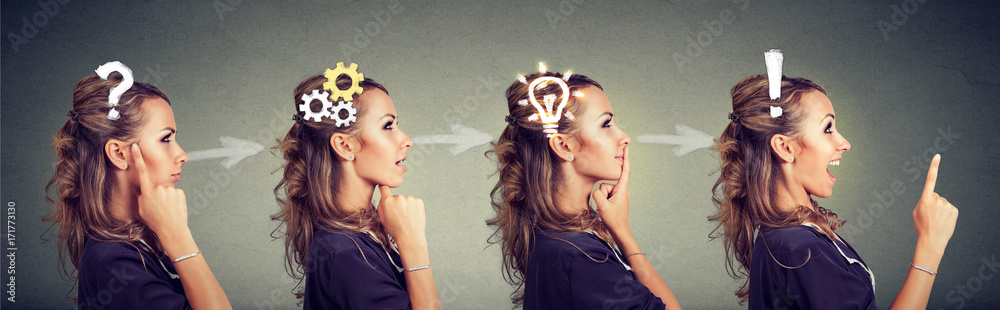 Fototapeta Sequence of a woman thoughtful, thinking, finding solution with gear mechanism, question, exclamation, lightbulb symbols.