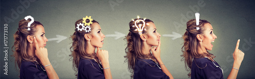 Fotografía  Sequence of a woman thoughtful, thinking, finding solution with gear mechanism, question, exclamation, lightbulb symbols