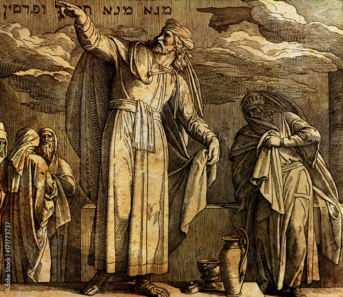 Photo The writing on the wall, Daniel and king Belshazzar, graphic collage from engraving of Nazareene School, published in The Holy Bible, St