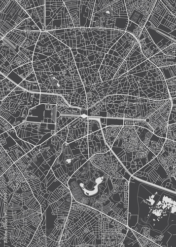 Fototapeta Bucharest city plan, detailed vector map